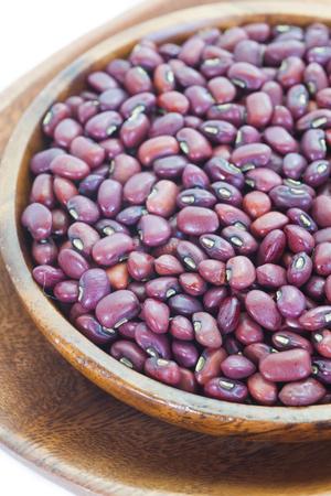 adzuki bean: Adzuki bean or red bean in wooden bowl Stock Photo