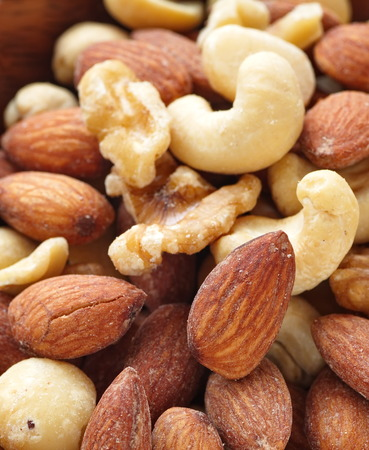 mixed nuts: Pile of Mixed Nuts , Almond , cashew nut , walnut