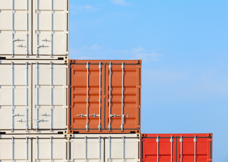 dockyard: Stack of Shipping cargo container at dockyard