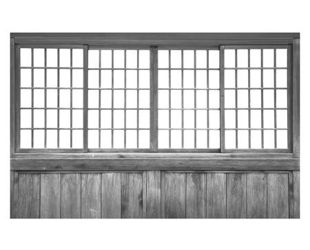 sliding door: Traditional Japanese house wood sliding door isolated on white background Stock Photo