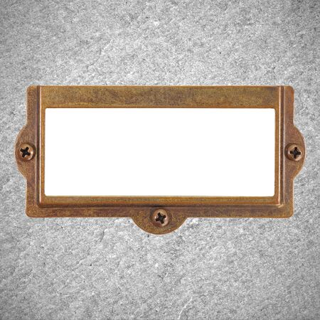 name plate: Antique metal name plate on stone background