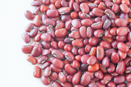adzuki bean: Pile of Adzuki bean or red bean on white background