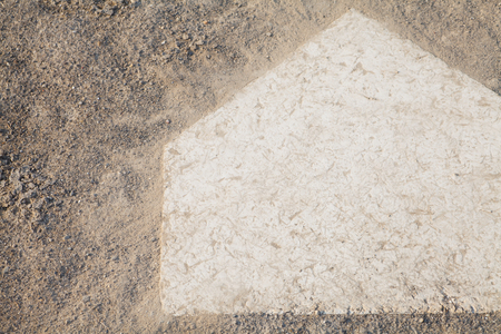 close - up Baseball homeplate from baseball field