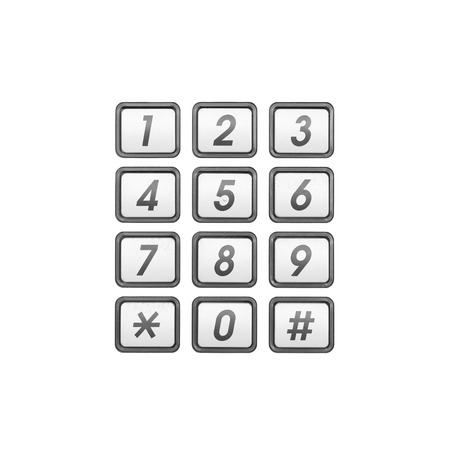 白い背景に分離されたメタル電話番号キーパッド 写真素材