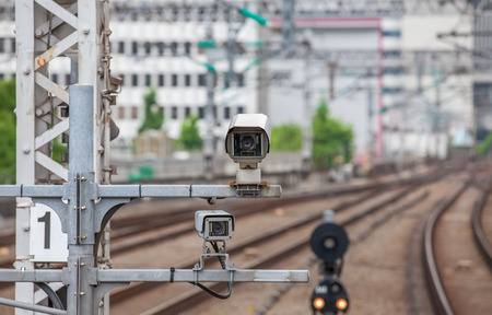 railway: Video camera security system at train station