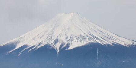 mountaintop: Top of Mountain Fuji with snow in winter season Stock Photo