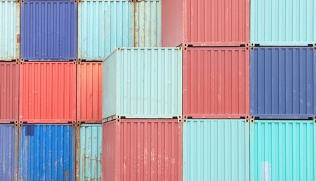 ship: Colorful stack of container shipping at dockyard
