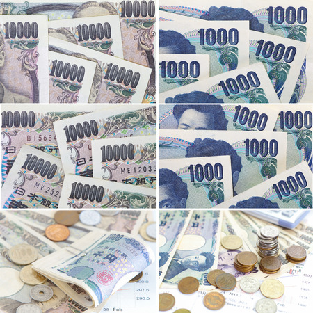 japanese currency: Collage set banknotes of Japanese currency yen