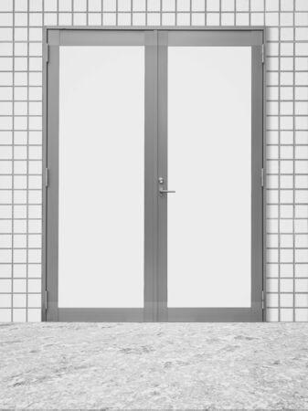 puerta de metal: White metal door and white modern wall background