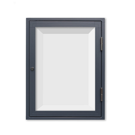 window display: Wood window display frame isolated on white background