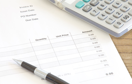 accounts payable: Close - up Detail of Business Document Invoice