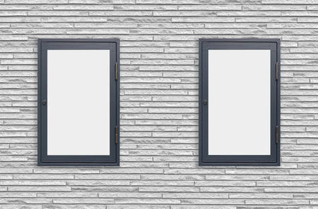forepart: Wood window display frame on white concrete wall background