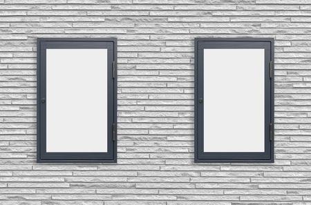 window display: Wood window display frame on white concrete wall background
