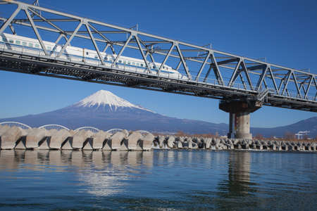 japanese people: Bullet train Tokaido Shinkansen with view of mountain fuji at Shizuoka prefecture , Japan