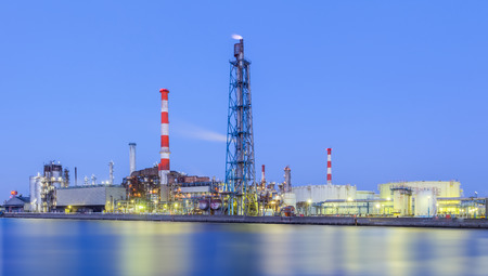 Industrial panorama view at oil refinery plant form industry zone