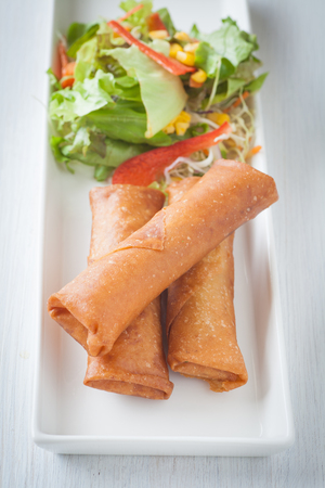 spring roll: Deep fried spring roll with vegetable salad