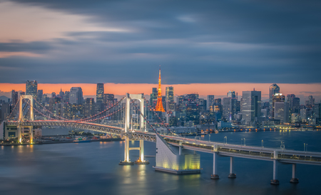 Tokyo city view with Tokyo rainbow bridge and Tokyo Tower 스톡 콘텐츠