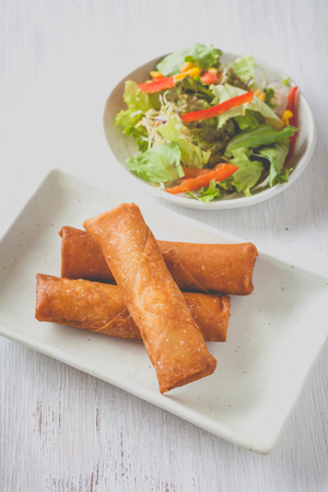 deep fried: Deep fried spring roll with vegetable salad