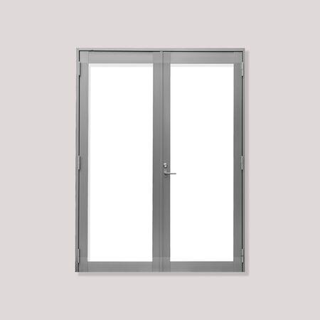 puerta de metal: White metal door isolated on grey background