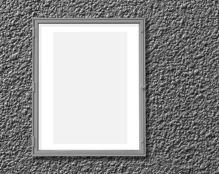window display: Metal window display frame isolated on cement wall background