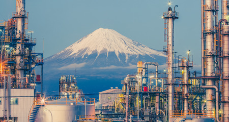 industry: Mountain Fuji and Japan industry zone from Shizuoka prefecture Stock Photo