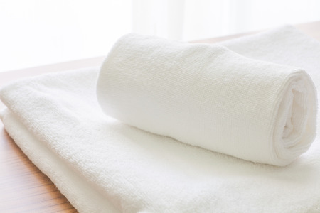 Clean white towel fold in hotel room