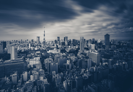 dark city: Tokyo city view and Tokyo Tower in dark tone Editorial