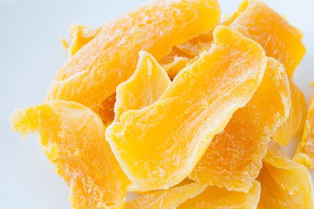 dehydrated: Piece of Dehydrated mango on white background