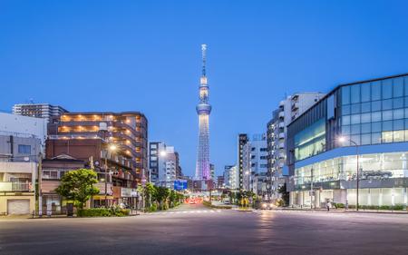 Tokyo street view and tokyo sky tree at night