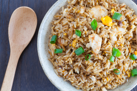 chinese food: Healthy food fried rice chicken with egg and green onion