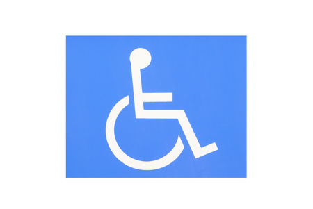 handicap sign: Blue handicap parking or wheelchair parking space sign Stock Photo