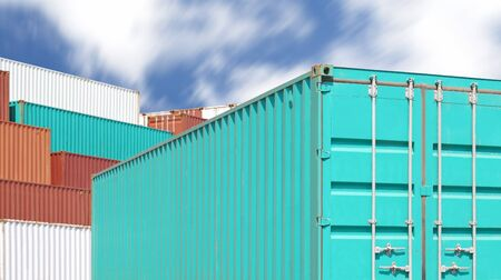 dockyard: Colorful stack of container shipping at dockyard