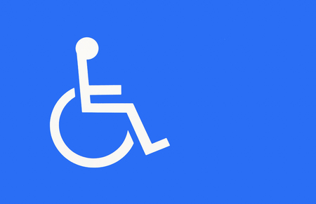 wheelchair access: Blue handicap parking or wheelchair parking space sign Stock Photo