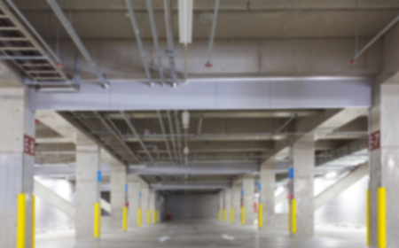car park interior: Abstract background of underground car parking , shallow depth of focus.