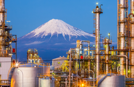 oil and gas industry: Mountain Fuji and Japan industry zone from Shizuoka prefecture Editorial