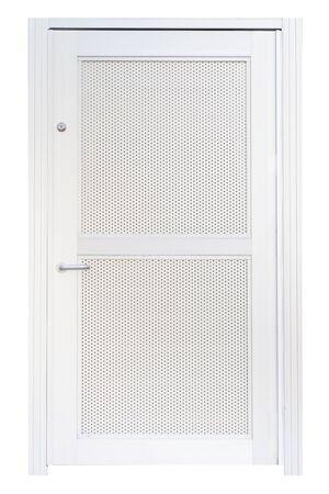 metal door: Metal door with mesh screen isolated on white background