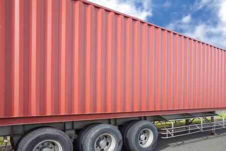 container box: Container cargo truck and container shipping box Stock Photo