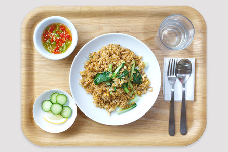 chinese food: Fried rice with pork and chinese cabbage in wood tray