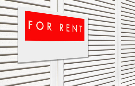 For rent sign on window house shutter Imagens