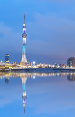tokyo city: Tokyo river view with Tokyo sky tree in twilight time