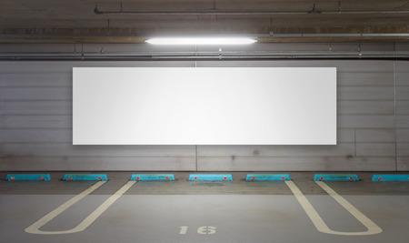 billboard blank: Parking garage underground interior with blank billboard Stock Photo