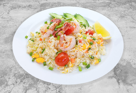 chinese food: Fried rice with shrimp seafood and vegetable