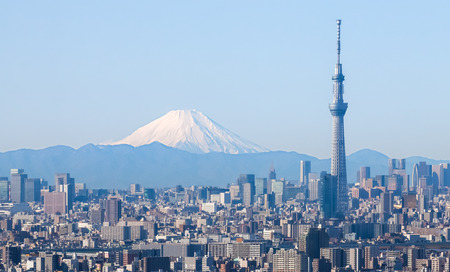 Tokyo city view with Tokyo sky tree and Fuji mountain 에디토리얼