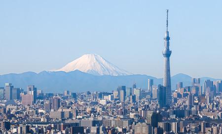 Tokyo stad met hemelboom van Tokyo en Fuji berg