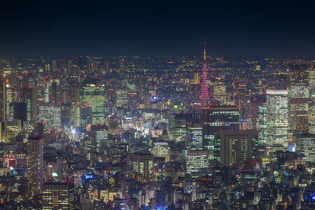 夕暮れの東京タワーと東京シティー ビュー