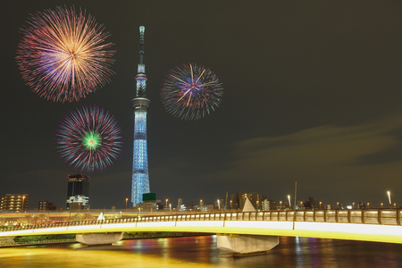 tokyo city: Tokyo city view and beautiful firework at night