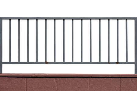 metal fence: Metal fence and cement wall isolated on white background