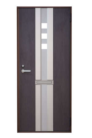 new entry: Modern brown  wood door isolated on white background Stock Photo