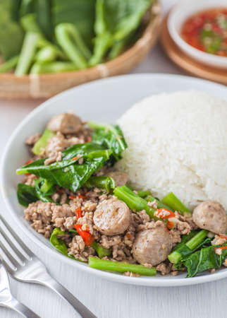 chinese food: Asian food , Fried chinese broccoli with pork and meat ball Stock Photo