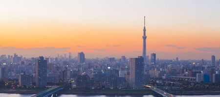 tokyo city: Tokyo city view and Tokyo skytree at sunset time